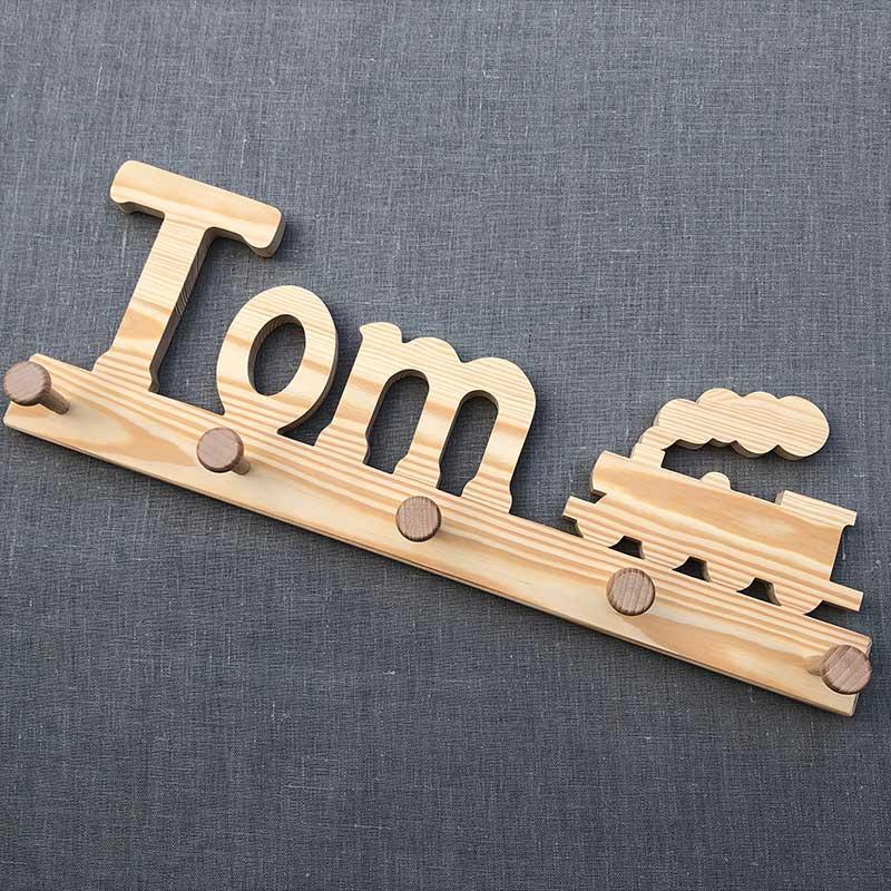 Holzgarderobe Tom mit Eisenbahn